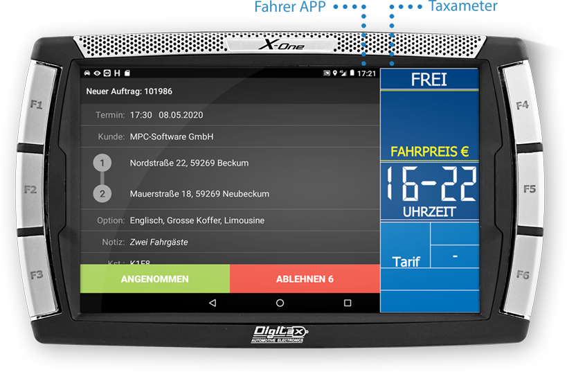 DIGITAX X-One für Android mit TARIS-DriverPro